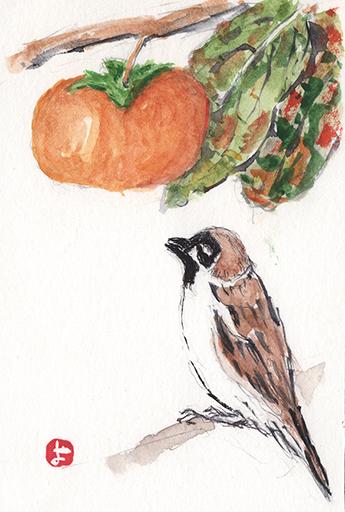 柿を見つめる雀